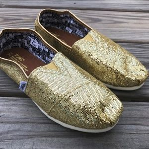 TOMS Baby Girl Shoes Gold Sparkle Glitter Flat